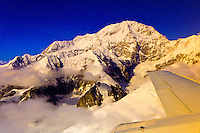 Aerial view of the summit of Mt. McKinley (Cassin Ridge, south buttress curving in the foreground), the Alaska Range, Denali National Park, Alaska
