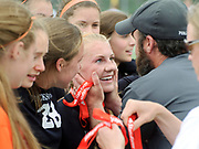 Coach Tom Ralston praises sophomore Alex Hee and the whole team after the Lady Broncs shut down Star Valley in the 3A Wyoming State Soccer Championship on Saturday. Jackson won the title game 1-0.
