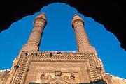 TURKEY, SIVAS, SELCUK Cifte Minareli Medrese, façade