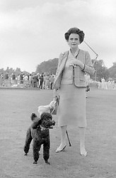 25 July 1982 - Margaret, Duchess of Argyll and her poodle Alphonse at a polo match in Windsor, Berkshire.<br /> <br /> Photo by Desmond O'Neill Features Ltd.  +44(0)1306 731608  www.donfeatures.com
