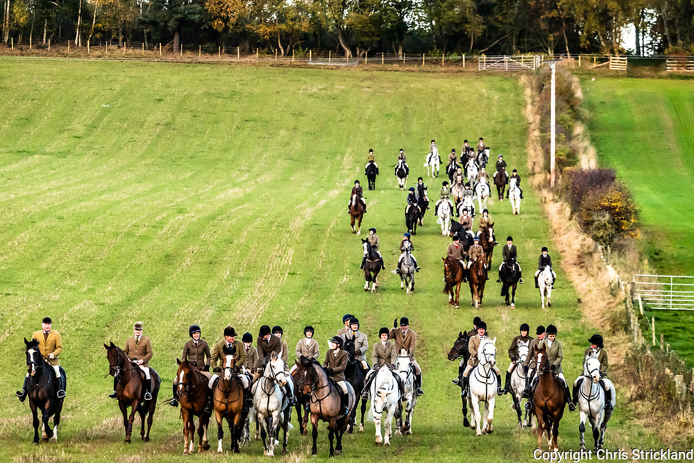 Kelso, Scottish Borders, UK. 27th October 2018. The Duke of Buccleuch Hunt and mounted followers flush foxes to guns near the Borders town of Kelso.