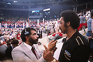 Ed Bradley interviews Jesse Jackson during the Democratic Convention in New York in 1980..Photograph by Dennis Brack bs b 17