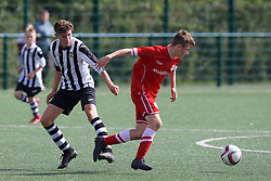 NEWPORT, WALES - Thursday, August 4, 2016: North Wales Academy Boys' Morgan Sadler [R] and South Wales Academy Boys'  George Newman during the Welsh Football Trust Cymru Cup 2016 at Newport Stadium. (Pic by Paul Greenwood/Propaganda)