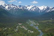 Alaska. Girdwood in the Chugach National Forest. Nestled against the Chugach Mountains, Girdwood is home to Alyeska Ski Resort as well as a growing Alaskan community.