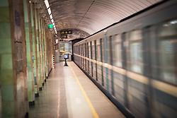 10 June 2017, Saint Petersburg, Russia. Russia's large cities are famous for their widespread Metro system running deep into the ground, with often distinctive  decorations and ornamentation of the platforms.