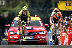 July 17, 2018 - Le Grand Bornand, FRANCE - Dutch Annemiek Van Vleuten (L) wins before Dutch Anna van der Breggen (R) the sprint at the finish of the 'La Course by Le Tour de France' one day women's cycling race, 112.5 km from Annecy to Le Grand Bornand, France, Tuesday 17 July 2018. The race is organized during the men's Tour de France cycling race. BELGA PHOTO YORICK JANSENS (Credit Image: © Yorick Jansens/Belga via ZUMA Press)