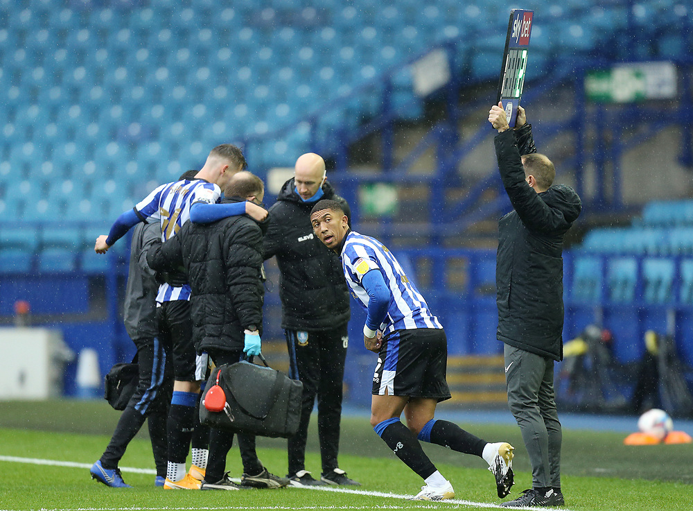 Sheffield Wednesday's Liam Shaw is replaced by Sheffield Wednesday's Liam Palmer after being injured in a challenge with Queens Park Rangers' Bright Osayi-Samuel (not pictured) early in the game<br /> <br /> Photographer Rich Linley/CameraSport<br /> <br /> The EFL Sky Bet Championship - Sheffield Wednesday v Queens Park Rangers - Saturday 3rd October 2020 - Hillsborough Stadium - Sheffield <br /> <br /> World Copyright © 2020 CameraSport. All rights reserved. 43 Linden Ave. Countesthorpe. Leicester. England. LE8 5PG - Tel: +44 (0) 116 277 4147 - admin@camerasport.com - www.camerasport.com