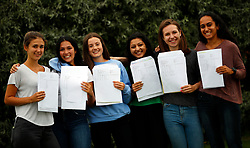 © Licensed to London News Pictures. 17/08/2017. LONDON, UK. <br /> LADY ELEANOR HOLLES STUDENTS RECEIVE TOP A LEVEL RESULTS <br /> Students from Lady Eleanor Holles school in Hampton, south-west London react to their Alevel results today. Lady Eleanor Holles School achieved 96% of students passing with grades A*-B.<br /> Photo credit: LNP