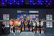 Podium Team Boels Dolman, Canyon Sram, Team Sunweb during the 2018 UCI Road World Championships, Women's Team Time Trial cycling race on September 23, 2018 in Innsbruck, Austria - Photo Dario Belingheri / BettiniPhoto / ProSportsImages / DPPI
