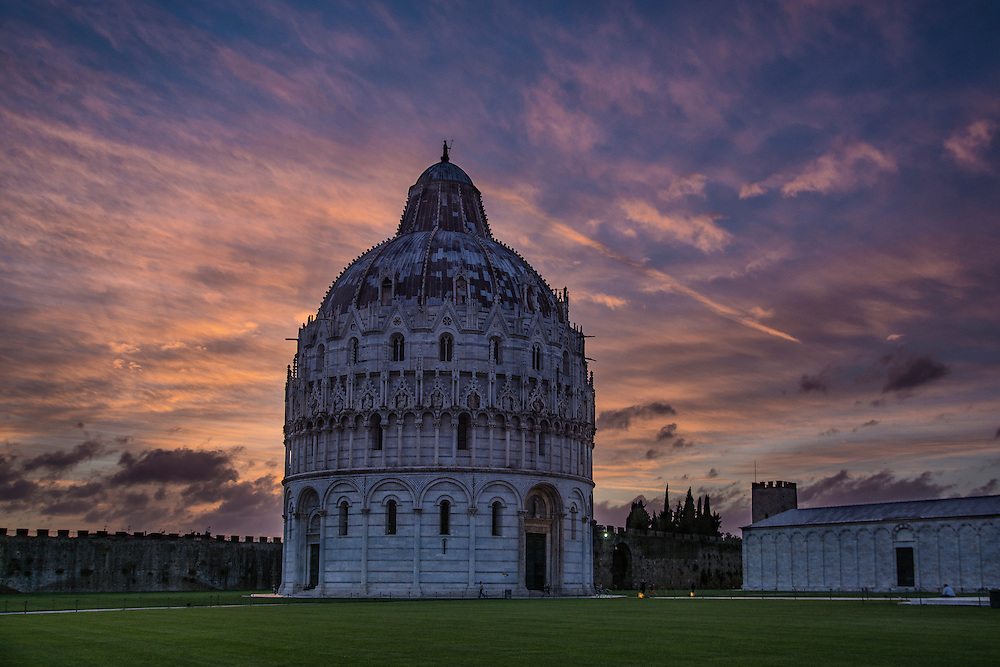 The afterglow of the sunset in Pisa, Italy.