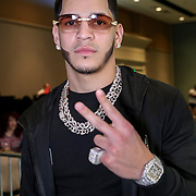 Undefeated  pro boxer Edgar Berlanga poses at the One For All Promotions boxing event at the Caribe Royale Orlando Events Center on Saturday, February 20, 2021 in Orlando, Florida. (Alex Menendez via AP)