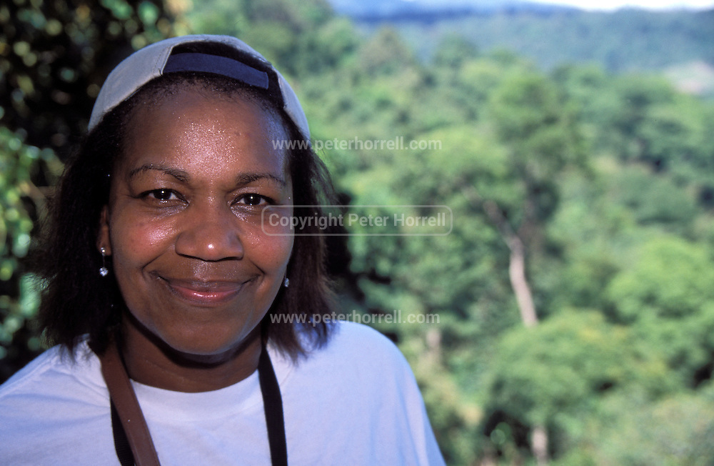 Lorna Brooks during a canopy walk in the forest at Poring in Kinabalu Park, Sabah.