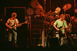 "Phil Lesh, Bob Weir and Bill Kreutzmann performing with The Grateful Dead Live at The Hampton Coliseum on 8 October 1989. One of the ""Formerly The Warlocks"" concerts. Limited Edition Photographic Prints available for purchase in Cart."