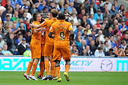 Wolve's Bakary Sako © celebrates after he scores the opening goal.  NPower championship, Cardiff city v Wolverhampton Wanderers at the Cardiff city stadium in Cardiff, South Wales on Sunday 2nd Sept 2012. pic by Andrew Orchard, Andrew Orchard sports photography,