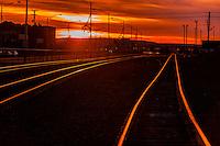 Train tracks at sunset, Gallup, New Mexico USA.