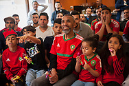 Moroccan people, gathered in a bar attend football match between the teams of Iran and Morocco during the World Cup in Russia 2018. Irun (Basque Country). June 15, 2018. (Gari Garaialde / Bostok Photo)