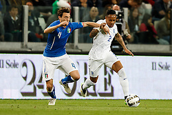 Nathaniel Clyne of England is challenged by Matteo Darmian of Italy - Photo mandatory by-line: Rogan Thomson/JMP - 07966 386802 - 31/03/2015 - SPORT - FOOTBALL - Turin, Italy - Juventus Stadium - Italy v England - FIFA International Friendly Match.