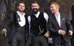 © Licensed to London News Pictures. 13/07/2014, UK. Keith Duffy, Shane Lynch & Ronan Keating. Boyzone, play British Summer Time at Hyde Park, London UK, 13 July 2014. Photo credit : Brett D. Cove/Piqtured/LNP