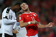 Kevin Danso of Austria clashes heads with Gareth Bale of Wales as they jump for the ball. Wales v Austria , FIFA World Cup qualifier , European group D match at the Cardiff city Stadium in Cardiff , South Wales on Saturday 2nd September 2017. pic by Andrew Orchard, Andrew Orchard sports photography