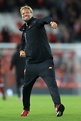 23rd August 2017 - UEFA Champions League - Play-Off (2nd Leg) - Liverpool v 1899 Hoffenheim - Liverpool manager Jurgen Klopp celebrates victory - Photo: Simon Stacpoole / Offside.