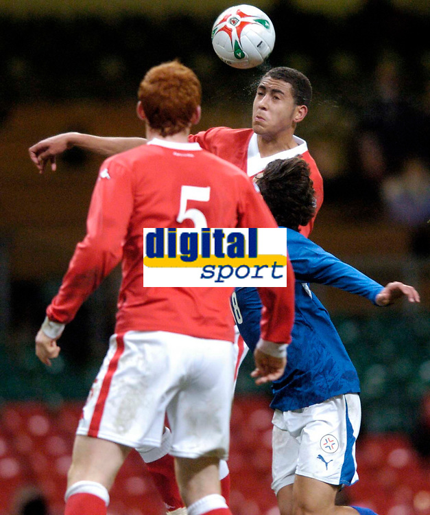 Photo: Richard Lane.<br />Wales v Paraguay. International Friendly. 01/03/2006. <br />Wales' Lewin Nyatanga heads the ball on his debut.