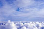 Cumulus and stratus clouds