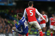 Gabriel of Arsenal pushes Eden Hazard of Chelsea. Premier league match, Chelsea v Arsenal at Stamford Bridge in London on Saturday 4th February 2017.<br /> pic by John Patrick Fletcher, Andrew Orchard sports photography.