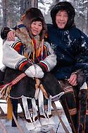 Nenets reindeer herders Katja and Vladimir Nyurov, Kánin Peninsula, Russia, Arctic