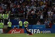 Dejan Lovren of Croatia celebrates after winning the 2018 FIFA World Cup Russia, semi-final football match between Croatia and England on July 11, 2018 at Luzhniki Stadium in Moscow, Russia - Photo Thiago Bernardes / FramePhoto / ProSportsImages / DPPI
