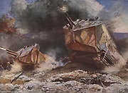 First World War battlefield scene, 1918.  Allied tanks overwhelming German trenches, July 1918.  After the painting by Francois Flameng (1856-1923).