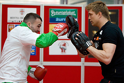 Boxer Dirk Dzemski, German coach (R) and Slovenian Boxer Dejan Zavec alias Jan Zaveck alias Mr. Simpatikus at open for public and press practice session before defending title of IBF World Champion, on April 6, 2010, in BTC City park, Ljubljana, Slovenia.  (Photo by Vid Ponikvar / Sportida)