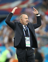 SOCHI, July 7, 2018  Head coach Stanislav Cherchesov of Russia is seen during the 2018 FIFA World Cup quarter-final match between Russia and Croatia in Sochi, Russia, July 7, 2018. (Credit Image: © Cao Can/Xinhua via ZUMA Wire)
