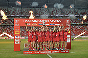 Canada celebrate with the trophy after the HSBC World Rugby Sevens Series, Singapore, Cup Final match USA -V- Canada  at The National Stadium, Singapore on Sunday, April 16, 2017. (Steve Flynn/Image of Sport)