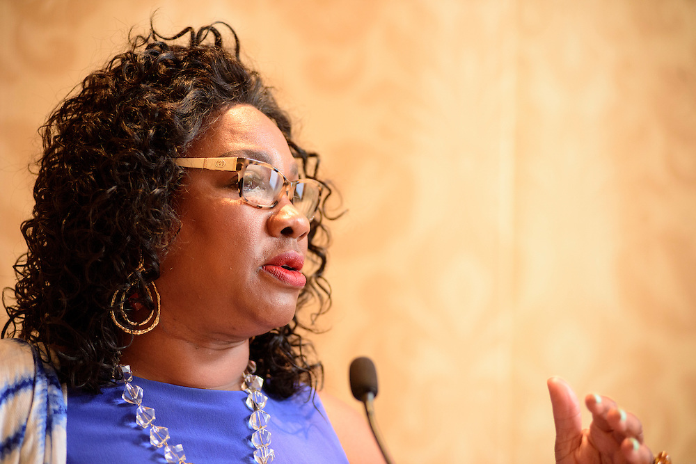 """Washington, D.C. - August 05, 2016: <br /> Dr. Beverly Wright, Executive director of Dillard University's Deep South Center for Environmental Justice speaks during the Earthjustice hosted panel """"Environmental Justice 101"""" during the National Association of Black Journalists/National Association of Hispanic Journalists event Friday Aug. 5., 2016 from 2:45-4:15 pm at the Washington Marriott Wardman Park. <br /> <br /> <br /> Panelists are: Moderator, Darryl D. Fears, Reporter, The Washington Post, Martha Dina Arguello, Executive Director of Physicians for Social Responsibility, Dr. Beverly Wright, Executive director of Dillard University's Deep South Center for Environmental Justice, Dr. Robert Bullard, Dean of the School of Public Affairs at Texas Southern University, and Lisa Garcia, Vice President of Healthy Communities at Earthjustice.<br /> <br /> CREDIT: Matt Roth"""