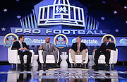 (L-R) Football analyst Chris Rose, Sports Illustrated writer Jim Trotter, Dallas Morning News writer Rick Gosselin, and former Pittsburgh Steelers defensive back Rod Woodson discuss the nominees prior to announcing the names of the Pro Football Hall of Fame 2013 Class of Enshrinees at the media center in the Ernest N. Morial Convention Center during the week of NFL Super Bowl XLVII on Saturday, Feb. 2, 2013 in New Orleans, Louisiana. ©Paul Anthony Spinelli