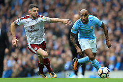 21st October 2017 - Premier League - Manchester City v Burnley - Fabian Delph of Man City gets away from Robbie Brady of Burnley - Photo: Simon Stacpoole / Offside.