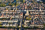 Nederland, Zuid-Holland, Schoonhoven, 28-10-2014; stadsgezicht met Grote of Bartholomeuskerk en stadhuis (rechts).<br /> luchtfoto (toeslag op standard tarieven); aerial photo (additional fee required); <br /> copyright foto/photo Siebe Swart