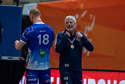 Dennis Borst of Lycurgus, Gerard Smit celebrate after the cup final between Amysoft Lycurgus vs. Draisma Dynamo on April 18, 2021 in sports hall Alfa College in Groningen