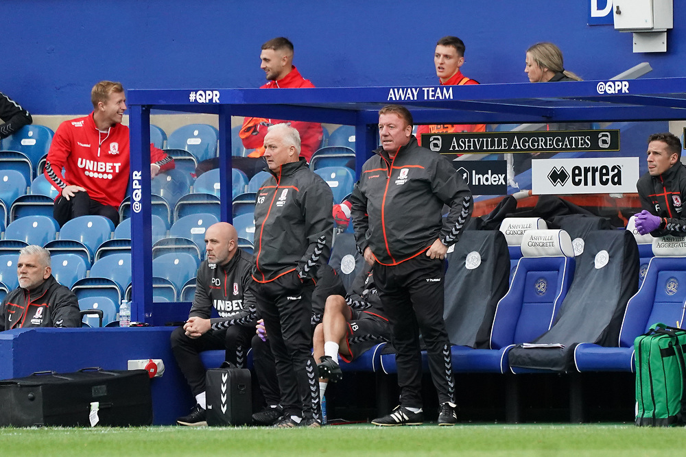 Middlesbrough coaching staff<br /> <br /> Photographer Stephanie Meek/CameraSport<br /> <br /> The EFL Sky Bet Championship - Queens Park Rangers v Middlesbrough - Saturday 26th September 2020 - Loftus Road - London <br /> <br /> World Copyright © 2020 CameraSport. All rights reserved. 43 Linden Ave. Countesthorpe. Leicester. England. LE8 5PG - Tel: +44 (0) 116 277 4147 - admin@camerasport.com - www.camerasport.com
