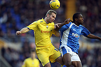 Photo: Rich Eaton.<br /> <br /> Birmingham City v Preston North End. Coca Cola Championship. 09/12/2006. Liam Chilvers left of Preston beats Birminghams Cameron Jerome to the ball