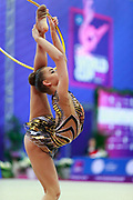 Averina Dina during final at hoop in Pesaro World Cup at Adriatic Arena on 15 April 2018.Dina is the 2017 and 2018 World All-around Champion. She was born on August 13, 1998 in Zavolzhye, Russia. Dina has a twin sister ,Arina is also herself a great gymnast.