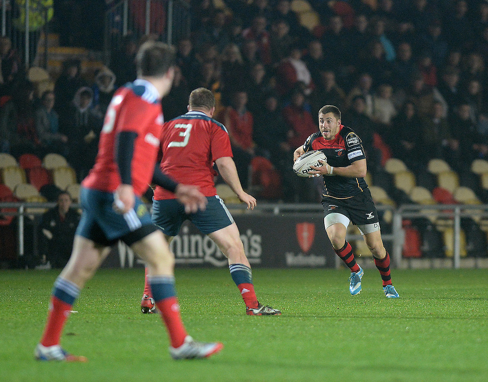 Newport Gwent Dragons' Richie Rees in action during today's match <br /> <br /> Photographer Ashley Crowden/CameraSport<br /> <br /> Rugby Union - Guinness PRO12 - Newport Gwent Dragons v Munster - Friday 21st November 2014 - Rodney Parade - Newport<br /> <br /> © CameraSport - 43 Linden Ave. Countesthorpe. Leicester. England. LE8 5PG - Tel: +44 (0) 116 277 4147 - admin@camerasport.com - www.camerasport.com