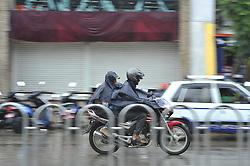 June 20, 2017 - Kiev, NP, Ukraine - Biker travelling towards his destination during sudden rainfall occurs at Kathmandu, Nepal on Tuesday, June 20, 2017. (Credit Image: © Narayan Maharjan/NurPhoto via ZUMA Press)