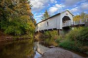USA, Oregon, Scio, Hoffman Bridge across Crabtree Creek in early Autumn. Digital Composite, HDR