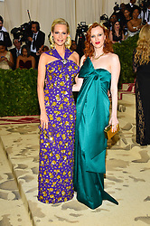 Poppy Delevingne and Karen Elson attending the Costume Institute Benefit at The Metropolitan Museum of Art celebrating the opening of Heavenly Bodies: Fashion and the Catholic Imagination. The Metropolitan Museum of Art, New York City, New York, May 7, 2018. Photo by Lionel Hahn/ABACAPRESS.COM