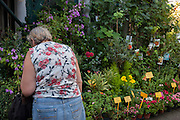 Wearing a matching design floral top, a lady customer inspects flowers in Mercado do Bolhao, Porto, Portugal.