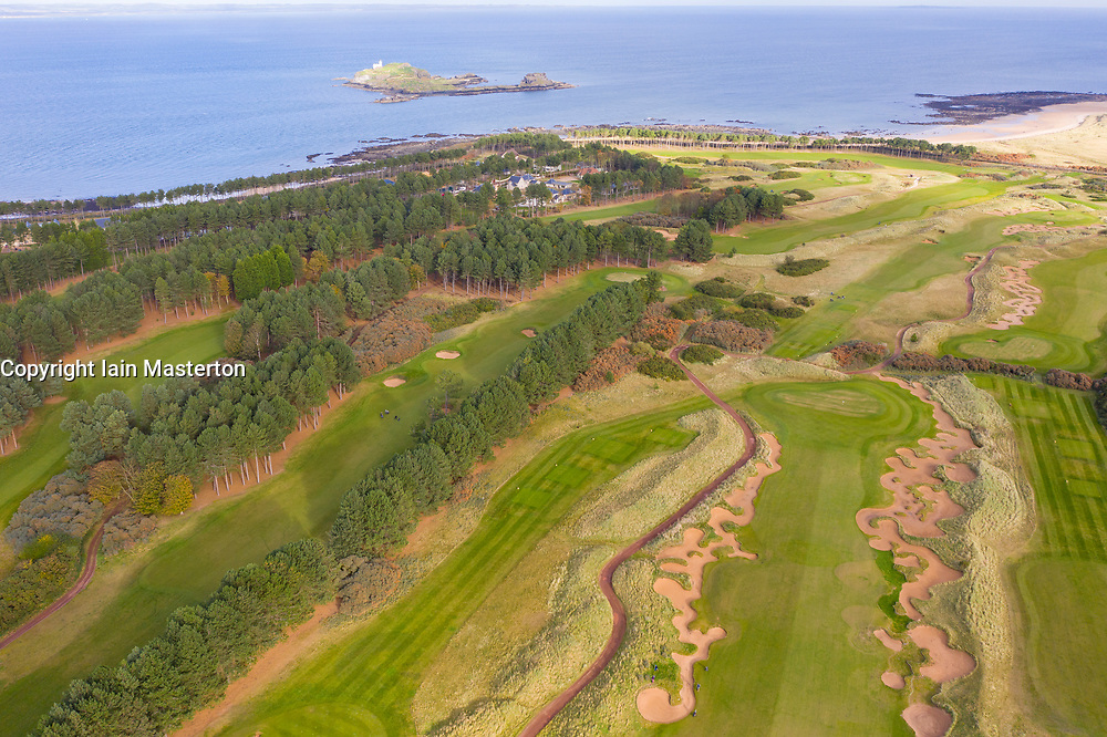 Aerial view of Fidra Links golf course at Archerfield Links golf club  in East Lothian, Scotland , UK
