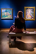 Die Brücke art: Badende am Waldteich by Erich Heckel, est £1.2m-2m,  along with key works by Ernst Ludwig Kirchner (l to r) - Christie's Impressionist, Modern and Surrealist Art pre-sale exhibition ahead of the Evening sale on 4 February. Highlights include: Cézanne's Vue sur L'Estaque et Le Château d'If, from the collection of Samuel Courtauld, which is coming to the market for the first time since it was acquired 79 years ago, in 1936 (estimate: £8-12 million); The most valuable group of Surrealist art ever to be offered at auction, featuring a group of works by Magritte and Miró, led by Joan Miró's L'oiseau au plumage déployé vole vers l'arbre argenté, 1953, from a Distinguished European Collection (estimate: £7-9 million); Amedeo Modigliani's rare double portrait Les deux filles, 1918 (estimate: £6-8 million); Femme de Venise V by Alberto Giacometti (estimate: £6-8 million); Juan Gris's La Lampe, 1914, which is considered to be among the artist's greatest contributions to Cubism (estimate: £2.5-3.5 million); Paysage à L'Estaque, 1907, by Georges Braque (estimate: £2-3 million); An important group of German works from the collection of industrial chemist Carl Hagemann, representing three of the four founding artists of the Die Brücke movement, led by one of the masterpieces of Die Brücke art: Badende am Waldteich by Erich Heckel, along with key works by Ernst Ludwig Kirchner and Karl Schmidt-Rottluff; and other important works by Chagall, Moore, Picabia, Arp, Ernst, Tanguy and Dominguez. The auction has a total pre-sale estimate of £92.8 million-£133.8 million. Christie's, King Street, London, UK.