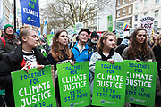 The Together for Climate Justice march and demonstration on December 1st 2018 in London, United Kingdom. Thousands gathered to protest that the government is not to facing up to the climate crisis.