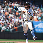 June 20 2021 San Francisco CA, U.S.A.The Giants shortstop Brandon Crawford (35) makes and infield play  during the MLB game between the Philadelphia Phillies and San Francisco Giants, Giants won 11-2 at Oracle Park San Francisco Calif. Thurman James / CSM